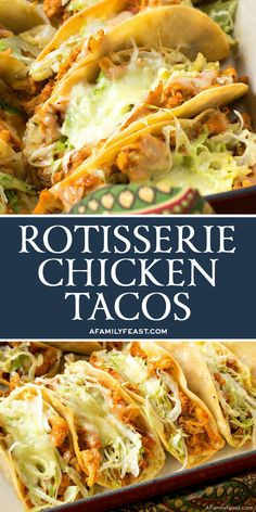 These Easy Rotisserie Chicken Tacos are a quick and delicious weeknight meal and a great way to feed a crowd at your next game day party. The post Easy Rotisserie Chicken Tacos appeared first on Tasty Recipes. One Dish Meals Tasty Recipes Rotisserie Chicken Tacos, Chicken Taco Recipes, Healthy Rotisserie Chicken Recipes, Taco Chicken, Baked Chicken Tacos, Healthy Chicken Tacos, Shredded Chicken Tacos, Rotisserie Chicken Leftovers, Recipe Chicken