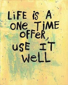 """Inspirational quote - """"Life is a one time offer, use it well."""" Seize the day people."""