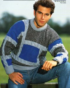 mens sweater knitting pattern pdf DK patchwork cable jumper Vintage 34-40 inch DK light worsted 8ply Instant download by Hobohooks on Etsy