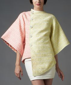 Look what I found on #zulily! Nuvula Pink & Lemon Green Abstract Cape-Sleeve Button-Up Top by Nuvula #zulilyfinds