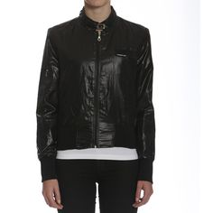 Members Only Women's Metallic Bomber Jacket ($40) ❤ liked on Polyvore featuring outerwear, jackets, black, zip jacket, logo jackets, lined bomber jacket, members only and vintage bomber jacket