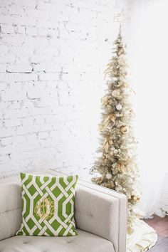 monogrammed pillow + gold Christmas tree