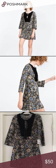 Zara NWT blue florals boho mini dress size SM Super cute brand new with tags attached Zara blue floral boho mini dress. Features front tie tassels in a black velour yoke. All over blue tone florals. Super cute!! Zara Dresses