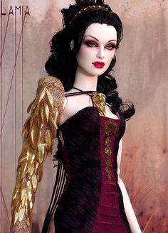 """Fully Dressed OOAK alabaster skintone """"Grey"""" sculpt in OOAK Numina dress, gauntlet and shoes. Wig by Ilaria."""