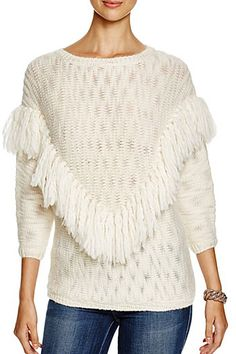 No basic sweaters here! Check out these sweaters with sumptuous personalities – Fur accents, box-cut sleeves, colorful patchwork… Anything that adds elevated moods to your outfit.   #Sweater #Sweaters #DesignerSweaters #Fringe