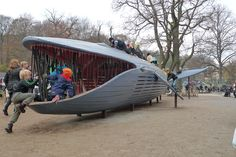 The Blue whale in the new playground in the Plikta park, Göteborg, designed by MONSTRUM