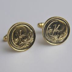 Gold Plated One Cent Coin Cufflinks front.
