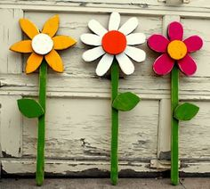 painted wood flower accents