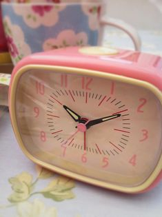 Retro Alarm Clock Pink, Retro Alarm Clock Pink, £11.50, Plum Green & The Suffolk Flower Company