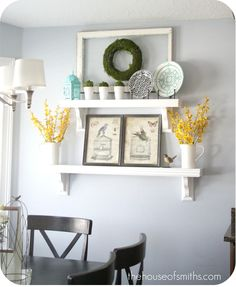 """The House of Smiths DIY blog is awesome. This is called the """"everyday"""" kitchen shelf look. It looks so effortless and so classy and clean. It was so easy and inexpensive! Will definitely look for items like these while thrifting this weekend!"""