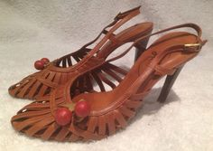 Punta Pie Brown Leather Cherry Heels Size 5 #puntapie #Strappy