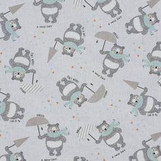 0 teddybear with umbrella pattern - ourson-gris-et-vert-d-eau parapluie