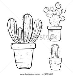 Set of Cactus With Doodle or Hand Drawing Style Cactus Drawing, Cactus Painting, Wall Drawing, Drawing Style, Embroidery Patterns Free, Hand Embroidery, Quilt Patterns, Doodle Drawings, Doodle Art