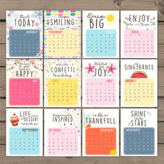 A cheerful printable calendar for 2016, full with hand drawn illustrations to make you smile every day :-) Also great as a gift!