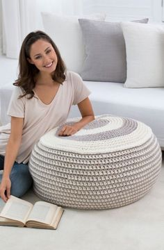 Stylish Pouf in Red Heart Grande - LW4526. Discover more Patterns by Red Heart…