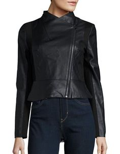 French Connection Knit-Accented Faux Leather Jacket Women's Black 4