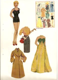 Marilyn, 1952 * The International Paper Doll Society by Arielle Gabriel for all paper doll and paper toy lovers. Mattel, DIsney, Betsy McCall, etc. Join me at ArtrA, #QuanYin5 Linked In QuanYin5 YouTube QuanYin5!