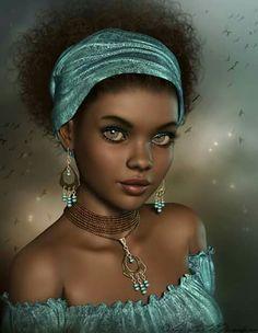 f Sorcerer Robes Necklace portrait female Forest Tower village med Black Love Art, Black Girl Art, Beautiful Black Women, Black Girl Magic, Art Girl, African Beauty, African Women, Afrique Art, African Art Paintings