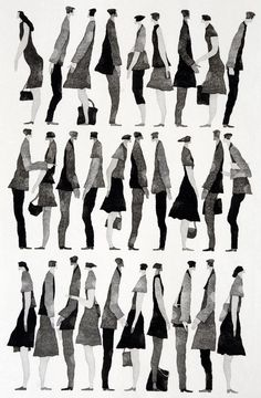 Fashion Illustration 行く手 (To the Future) - Tetsuo Aoki Sketches Of People, Drawing People, People Drawings, Illustration Design Graphique, Illustration Art, Davidson Galleries, Architecture People, Interior Architecture Drawing, Architecture Graphics