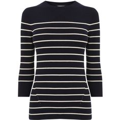 Warehouse Warehouse Breton Stripe Crew Jumper Size 6 ($24) ❤ liked on Polyvore featuring tops, sweaters, long sleeve tops, evening tops, knit sweater, blue knit sweater and long sleeve sweater