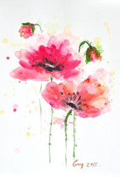 Original watercolor painting of Poppy flowers, size 21 x 29.7 cm [ A4 ] by Guykantawan on Etsy