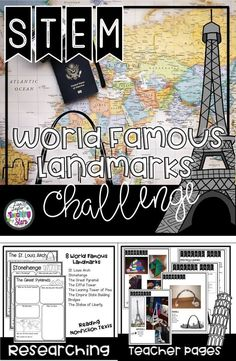 World Famous Landmarks Bundle includes 8 different famous landmarks to research and design structures resembling the landmark.  ⭐These activities can also be used for STEAM Activities, STEM After School Programs, Summer Programs, Clubs, Maker Spaces, or at home. You will save money, time, and your students will be engaged in STEM Activities. Students will learn about famous landmarks, integrated with geography. Students will read nonfiction and research the structures.
