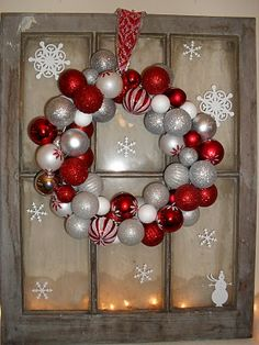 Ornament wreath made from shatter-proof ornaments strung on a wire hanger.