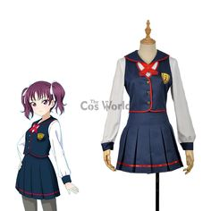 LoveLive!Sunshine!! Saint Snow School Uniform Sailor Suit Dress Outfit Anime Cosplay Costumes #SchoolOutfits Anime Cosplay Costumes, Costume Dress, School Uniform, Costume Accessories, Dress Outfits, Dresses, School Outfits, Sailor, Sunshine