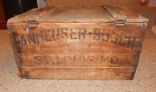 RARE 1917 Pre Prohibition Anheuser Busch Beer advertising wooden crate or box
