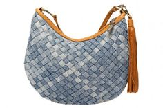 A purse woven from strips of upcycled blue jeans.