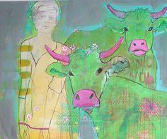 Blöde Kuh  Zeichnung und Übermalung  Brigitte Meßmer