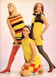 Mod fashion was made popular by the mods, a group of young people in Britain. Women wore colorful miniskirts and granny dresses. 1960s Mod Fashion, Seventies Fashion, Retro Fashion, Vintage Fashion, Womens Fashion, Fashion Vest, Ad Fashion, Dress Fashion, Vintage Chic