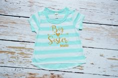A personal favorite from my Etsy shop https://www.etsy.com/listing/467690984/big-sister-ice-green-stripe-toddler