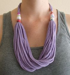 T-Shirt Necklace - Lavender Fabric Necklace - Heathered Lilac - T-Shirt Jewelry - Fabric Jewelry - Adjustable Length - Eco Friendly. $25,00, via Etsy.