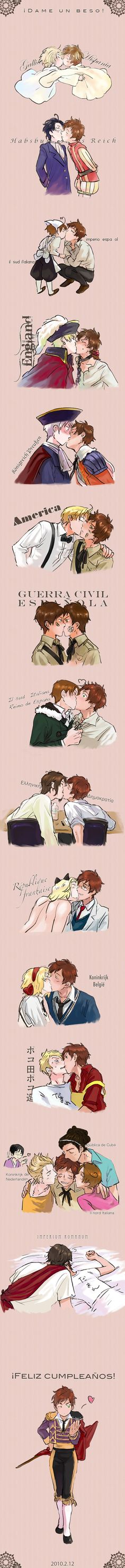 The Civil War one is hilarious XD Kissing himself haha <3 Hetalia. Kisses of Spain, to and from other countries~!