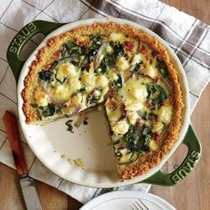 Spinach and Feta Quiche with Quinoa Crust   Cheesy quiche partners beautifully with a bright, citrusy salad. Whisk together 2 tablespoons canola oil, 1 tablespoon white wine vinegar, 1 teaspoon honey, and 1/4 teaspoon kosher salt in a large bowl. Add 3 cups baby kale, 3/4 cup grapefruit sections, and 1/4 cup sliced red onion; toss to coat.   CookingLight.com