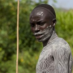 Surma Warrior With Clay Body Paintings, Turgit Village, Omo Valley, Ethiopia