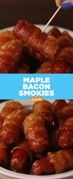 Everyone will be fighting over these Maple Bacon Smokies at your next party. Get the recipe at Delish.com. #delish #maple #maplesyrup #bacon #smokies #lilsmokies #hotdog #appetizer #recipe #easyrecipe