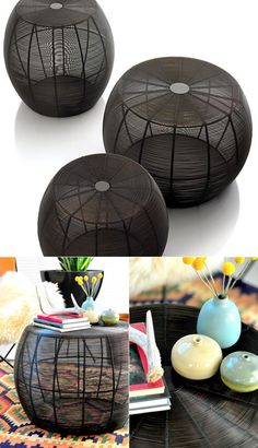 round wire coffee table set