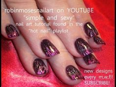 Party Girl Glitter Nail Art - Fuchsia and Black