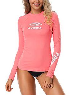 82deb6b2f18 AXESEA Women Rash Guard Long Sleeve Active Top UPF 50+ Rashguard Swim Shirt  Surf Swimwear