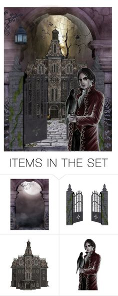 """""""You Say You're Lost ..."""" by sjk921 ❤ liked on Polyvore featuring art, Halloween, artset and hauntedhouse"""