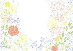 バラ&お花のカラフル線画_無料背景イラスト | 素材Good