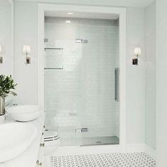 The VIGO Powell Frameless Hinged Shower Door. Click to see more! | VIGO Industries - Bathroom Design Ideas - Bathroom Remodels