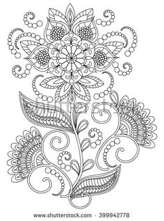 Hand-Drawn Henna Abstract Mandala Flowers and Paisley Doodle, Coloring Page