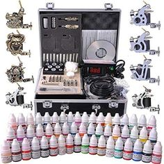 AMPERSAND SHOPS Professional Complete Tattoo Kit with LCD Power Supply and 2 Tattoo Guns with Carrying Case with Lock 54 Ink Selection * Check out the image by visiting the link. (This is an affiliate link and I receive a commission for the sales) 4 Tattoo, Tattoo Kits, Foot Tattoos, Tattoo Ideas, Tattoo Shop, Full Tattoo, Tattoo Designs, Type Tattoo, Tattoo Drawings