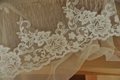 Beautiful French Floral Alencon Lace Trim in Ivory for by lacetime