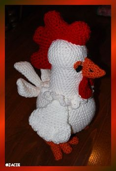 """Hi name is Henry.  He stand apx 12"""" tall and is totally baby proof.  No wires, No plastic eyes. He will be available on Etsy soon. You can purchase the pattern from this seller https://www.etsy.com/it/listing/185551471/cock-louie-toymagic-rooster-cockerel"""