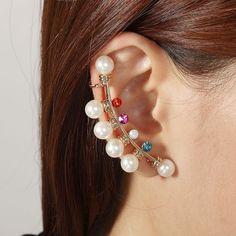 Rhinestone Bulb Pearl Cuff Earring Multicolor