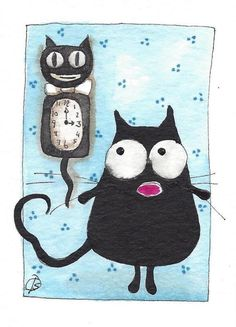 ACEO Original watercolor painting whimsical fat black kitty cat old clock #IllustrationArt